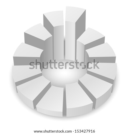 White circular diagram with columns isolated on white background. - stock vector