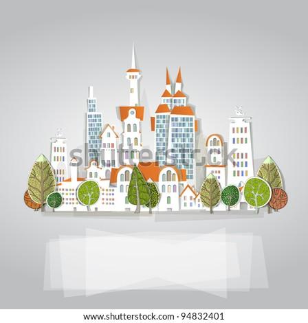 White city background - stock vector