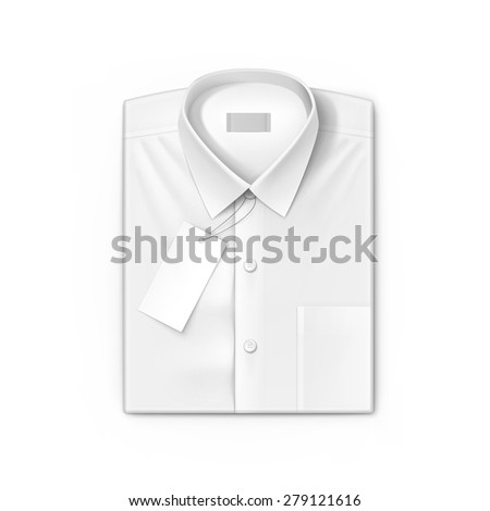 White classic men shirt with label isolated vector illustration