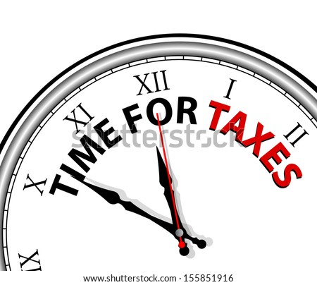 White clock with words Time for Taxes on its face  - stock vector