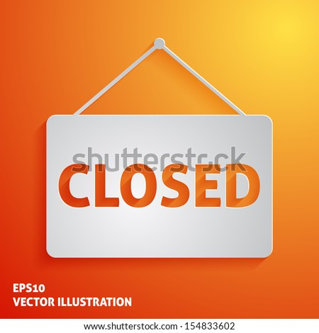 White closed sign vector icon on orange background - stock vector