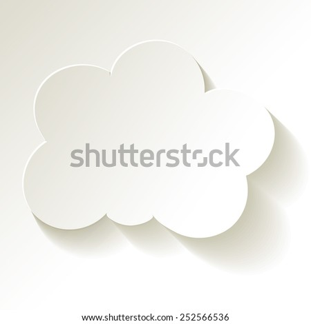 White Cloud paper white in the center on a white background - stock vector