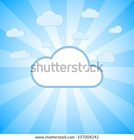 White cloud text box on the striped blue background