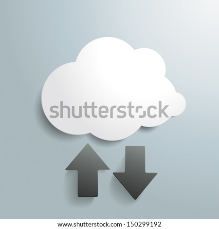 White cloud with arrows on the grey background. Eps 10 vector file. - stock vector