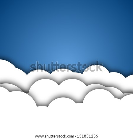 White Clouds Background - stock vector