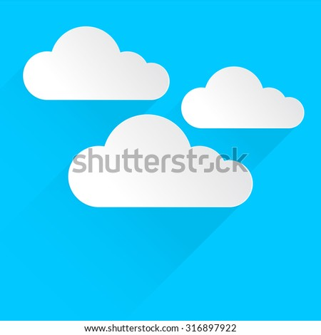 White clouds icon with flat design and long shadow on blue background, vector illustration