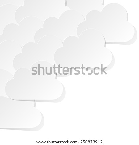 White Clouds on the white background - stock vector