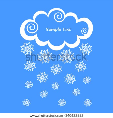 White clouds with snow on blue background. Vector Illustration  - stock vector