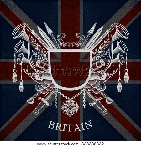 White Coat of Arms With Frame and Vintage Weapons on Britain Flag Background. Brand or T-shirt style - stock vector