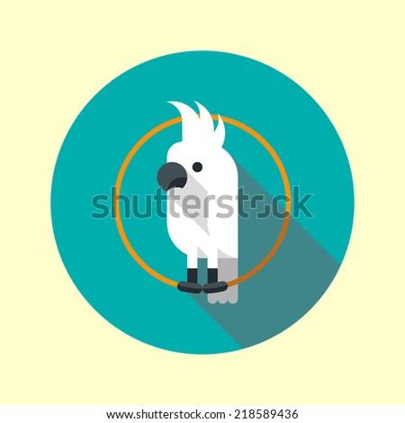 White cockatoo parrot long shadow flat design icon. Vector illustration. - stock vector