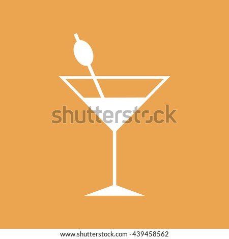 White cocktail glass vector icon illustration