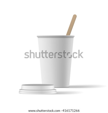 White Coffee Cup with Cap realistic Mockup
