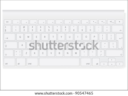 white colored keyboard - stock vector