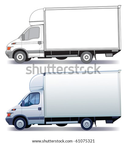 White commercial vehicle - delivery truck - colored and layout - stock vector