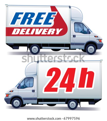 White commercial vehicle - delivery truck with a sign free delivery