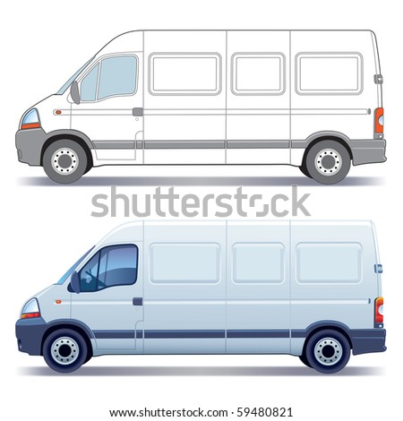White commercial vehicle - delivery van - colored and layout - stock vector
