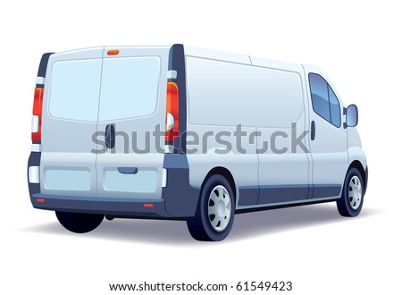 White commercial vehicle - delivery van on white background. - stock vector