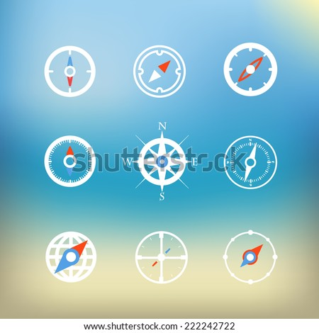 White compass icons clip-art on color background. Design elements - stock vector