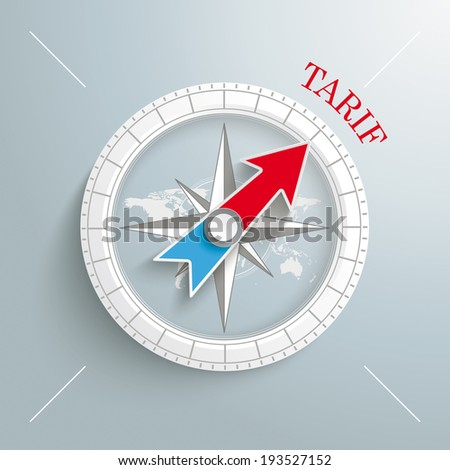 """White compass on the grey background. German text """"Tarif"""", translate """"Tariff"""". Eps 10 vector file. - stock vector"""