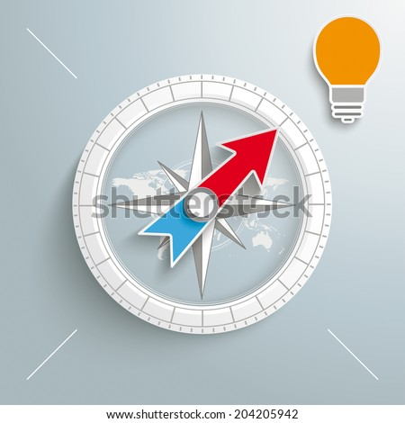 White compass with bulb on the grey background.  Eps 10 vector file. - stock vector