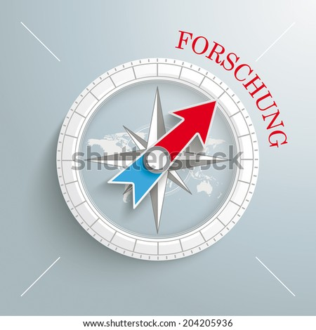 """White compass with red german text """"Forschung"""", translate """"Research"""" on the grey background.  Eps 10 vector file. - stock vector"""