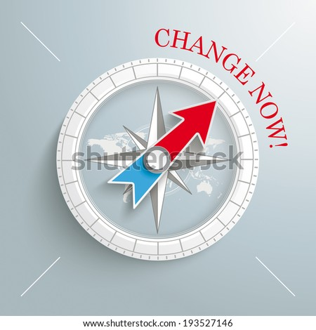 White compass with red text Change Now on the grey background. Eps 10 vector file. - stock vector