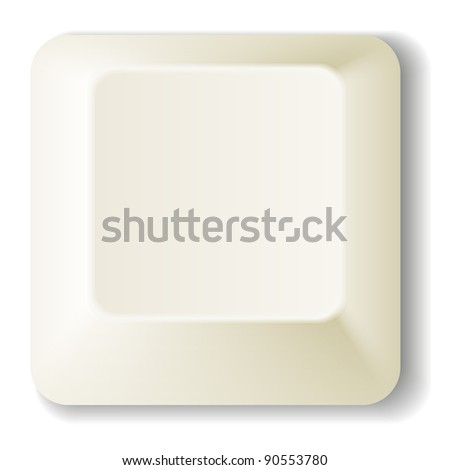White computer key - EPS 8 vector icon - stock vector