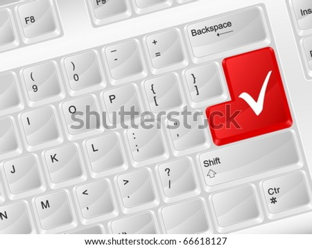 White computer keyboard check symbol. Vector illustration.