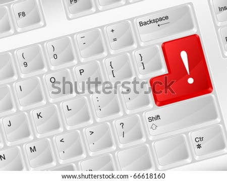 White computer keyboard exclamation symbol. Vector illustration.