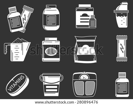 White contour icons vector collection of elements for healthy sports nutrition on black background. - stock vector