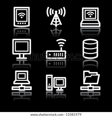 White contour network web icons V2 - stock vector