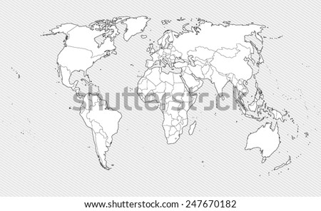 White Contour world map on gray background. Border countries. Vector illustration - stock vector