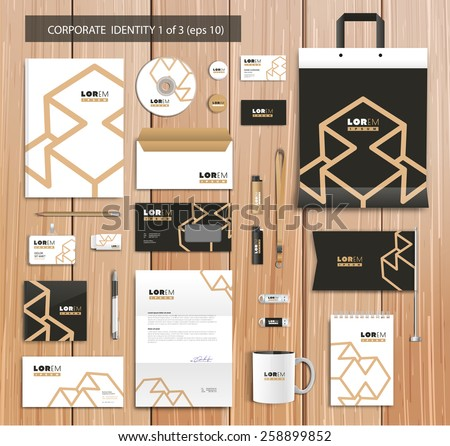 White corporate id template design with black, gold abstract elements. Documentation for business. Eps 10 - stock vector