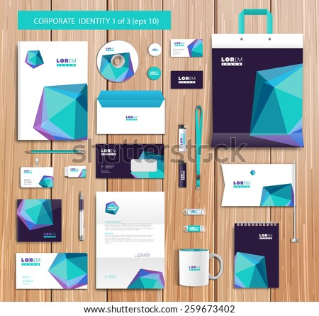 White corporate id template design with blue, violet abstract elements. Documentation for business. Eps 10 - stock vector