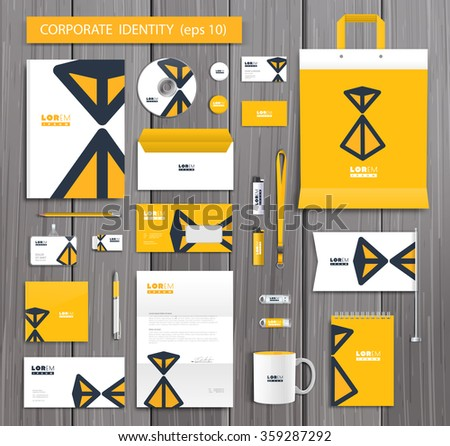 White corporate id template design with stylish hourglass and yellow abstract elements. Documentation for business. Eps 10 - stock vector