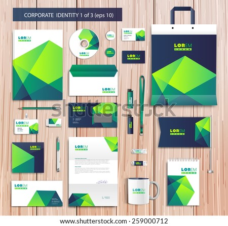 White corporate id template design with vgreen, blue abstract elements. Documentation for business. Eps 10 - stock vector