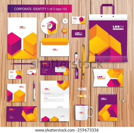 White corporate id template design with violet, yellow abstract elements. Documentation for business. Eps 10 - stock vector
