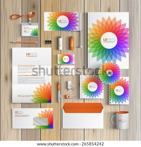 White corporate identity template design with color round flower. Business stationery - stock vector