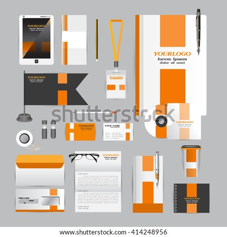 White corporate identity template with Orange origami elements. Vector company style for brandbook guideline and Pens mugs CDs books business cards letterhead flag Card Portfolio Tablet flash drive - stock vector