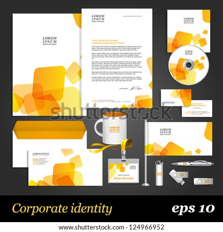 White corporate identity template with yellow elements. Vector company style for brandbook and guideline. EPS 10 - stock vector