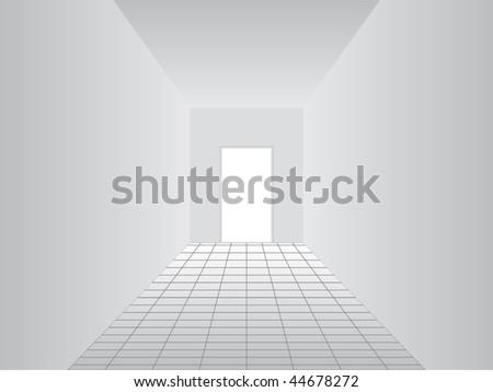 white corridor vector - stock vector