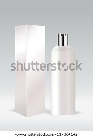 White cosmetic bottle - stock vector