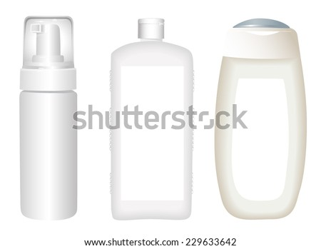 White cosmetics containers - stock vector