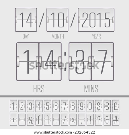 White countdown timer and scoreboard numbers. Vector EPS10 illustration - stock vector