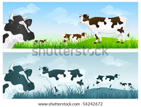 White cow with black spots on green grass pasture over blue sky - stock vector