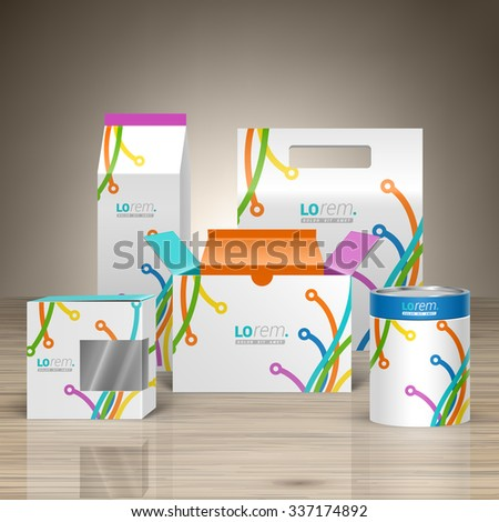 White creative promotional package design for corporate identity with color art lines in different directions. Stationery set - stock vector