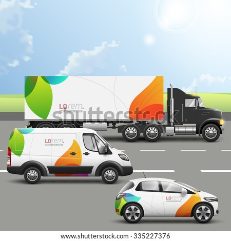 White creative transport advertising design with color shapes. Templates of the truck, bus and passenger car. Corporate identity