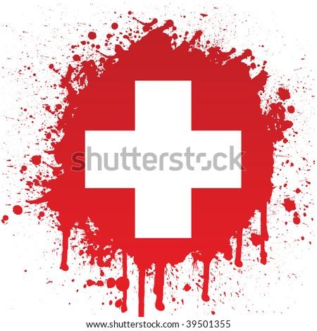 white cross in red spatter - stock vector