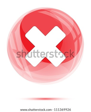 White cross mark in red glass sphere on white - stock vector