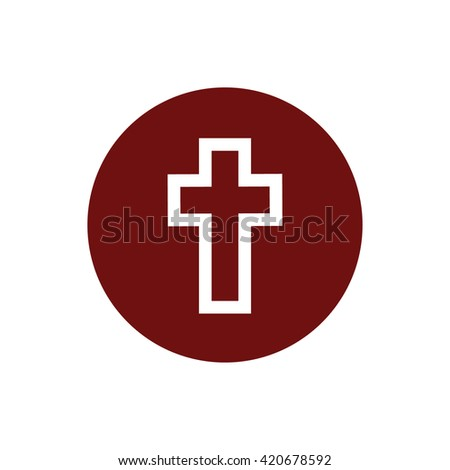 White cross symbol icon vector. Red circle. Red button - stock vector